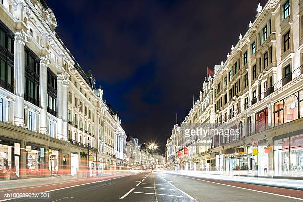 UK, London, Regent Street at night, long exposure