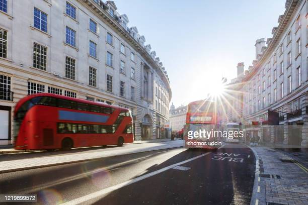 london regent street at sunrise - traffic stock pictures, royalty-free photos & images