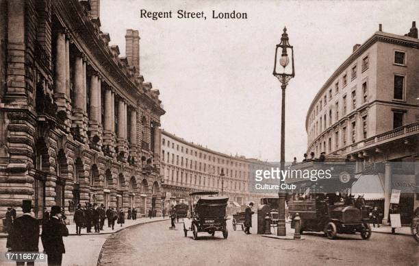 London Regent Street with early trams cars In early 1900s Pedestrians Top hats