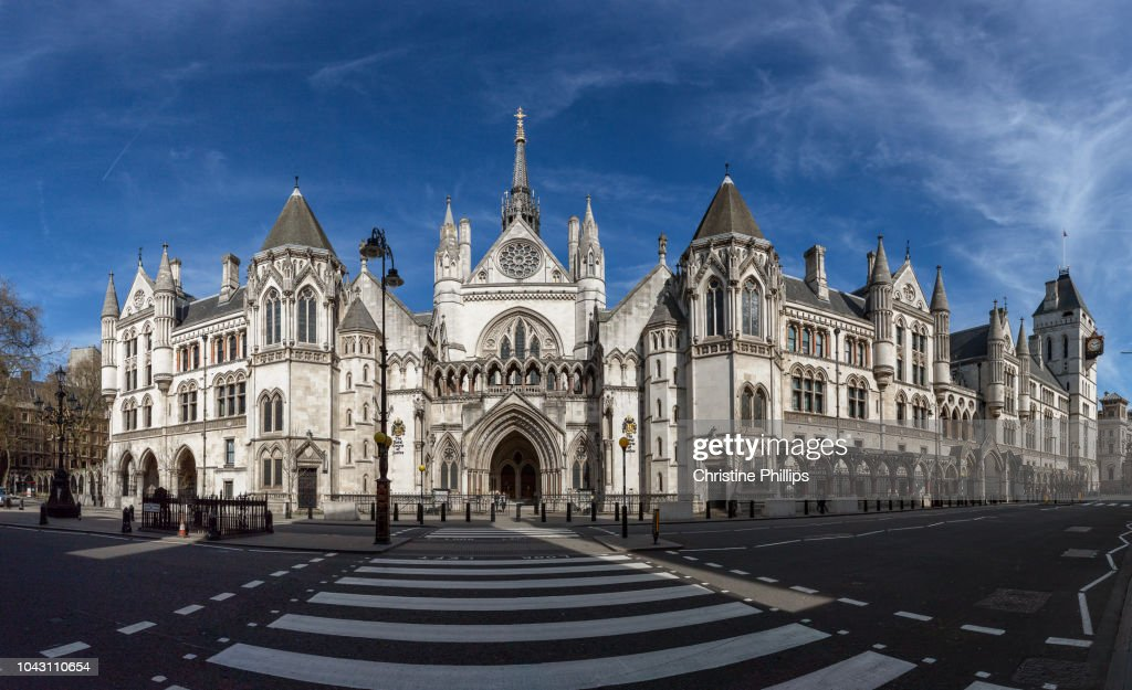 London, Royal Courts of Justice panorama : Foto de stock