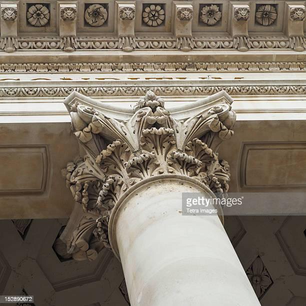 UK, London, Royal Exchange, Detail of column