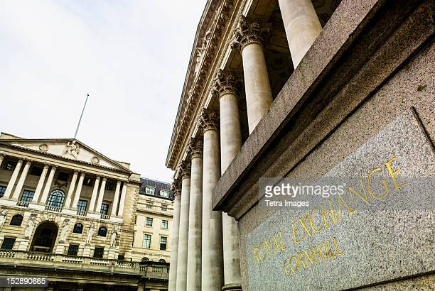 uk, london, royal exchange - bank of england stock photos and pictures
