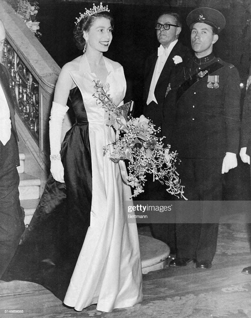 Queen Elizabeth Leaving Empire Theatre : News Photo