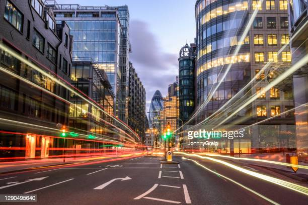 london rush hour traffic light trails on bishopsgate - long exposure stock pictures, royalty-free photos & images