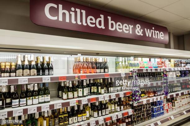 London, Sainsbury's supermarket, chilled beer and wine section.