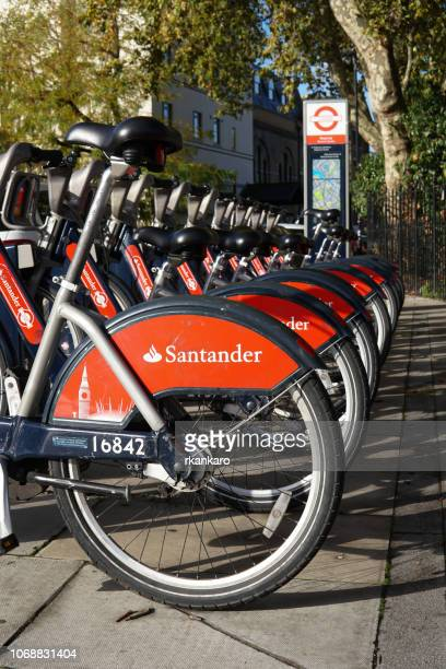 london santander bikes - sponsor stock pictures, royalty-free photos & images