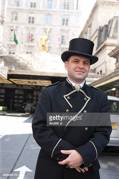 london savoy hotel - doorman stock photos and pictures