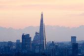London shard and cityscape at dusk