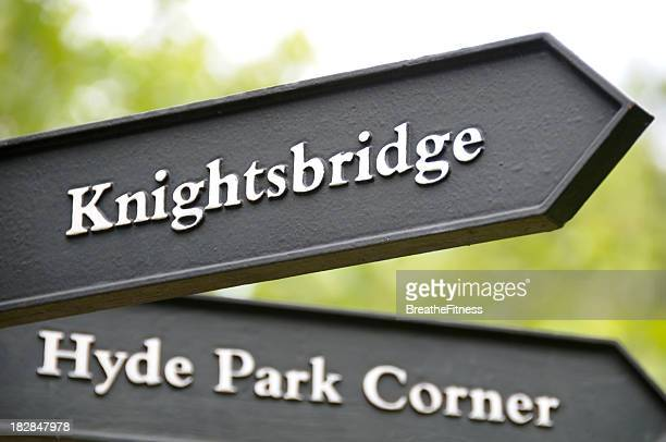 london sign - hyde park london stock photos and pictures