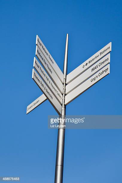 london signpost; waterloo station, royal national theatre, covent garden - king's college london stock pictures, royalty-free photos & images