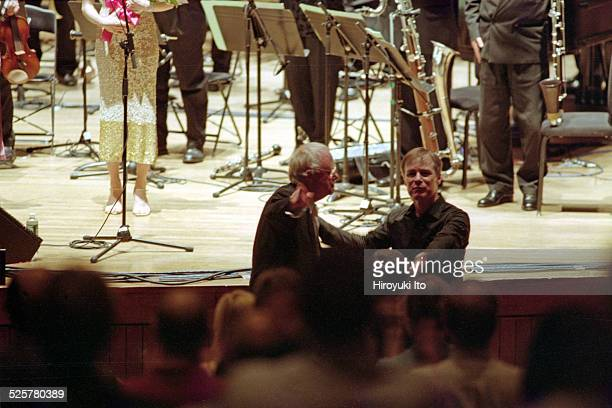London Sinfonietta performing in the final day of Louis Andriessen Festival at Alice Tully Hall on Saturday night, May 15, 2004.This image:From left,...