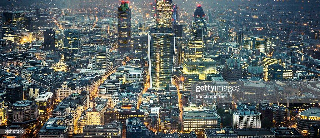 London skyline aerial view on night : Stock Photo