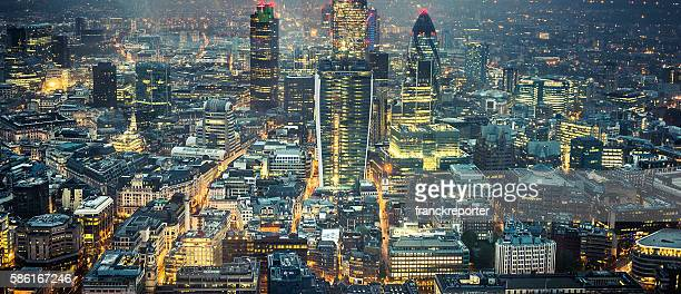 london skyline aerial view on night - canary wharf stock photos and pictures