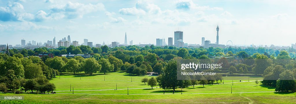 London Skyline and Primrose hill park panorama : Stock Photo