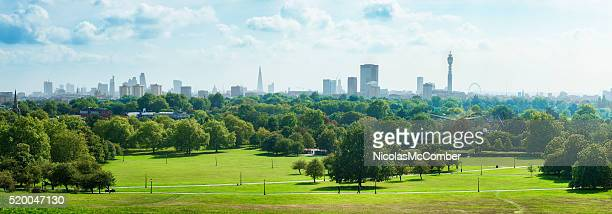 london skyline and primrose hill park panorama - green color stock pictures, royalty-free photos & images