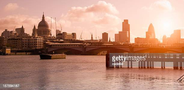 London skyline at sunrise, St. Paul's, City and Thames River
