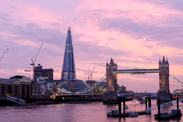 London skyline at sunset, Tower Bridge and The Shard