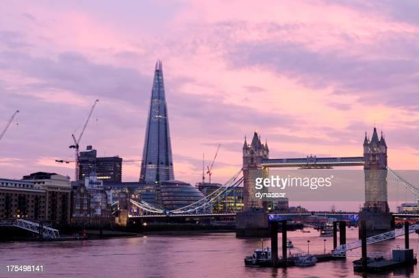 London skyline at sunset, Tower Bridge and The Shard
