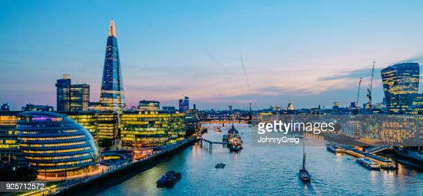 london skyline at twilight panorama - london skyline stock pictures, royalty-free photos & images