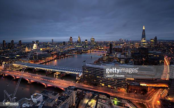 CONTENT] London skyline famous landmarks in view The Shard and St Pauls Cathedral and skyscrapers of the finical district Heron tower Walkie Talkie...