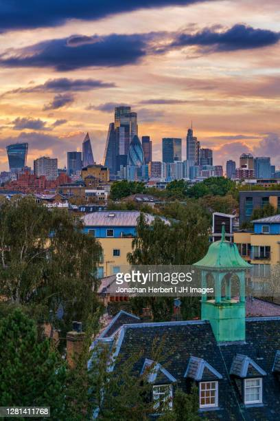 london skyline from east london - london stock pictures, royalty-free photos & images