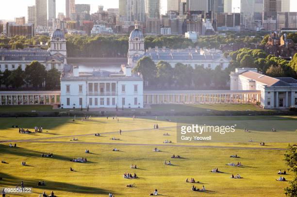 london skyline from greenwich park in the summer - greenwich london stock pictures, royalty-free photos & images