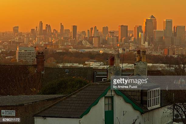 london skyline from shooter's hill, south london, united kingdom - south stock pictures, royalty-free photos & images