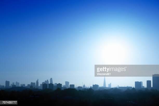 UK, London, skyline in backlight