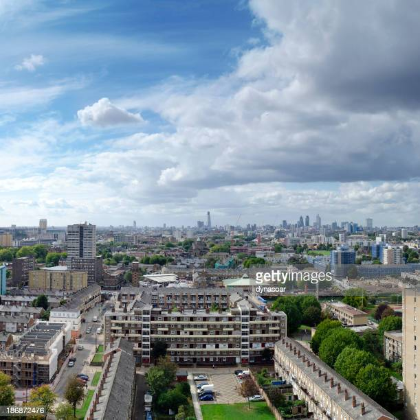 London skyline, looking from estate towards skyscrapers of The City