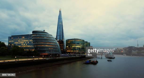 London - skyline near Thames River twilight (London, UK)