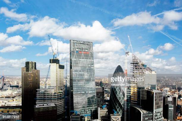 london skyline on a bright sunny day with blue sky - 2018 stock pictures, royalty-free photos & images