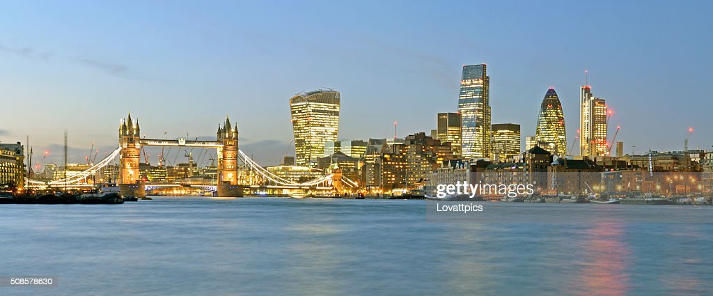 London skyline panoramic nightime view. : Stock Photo