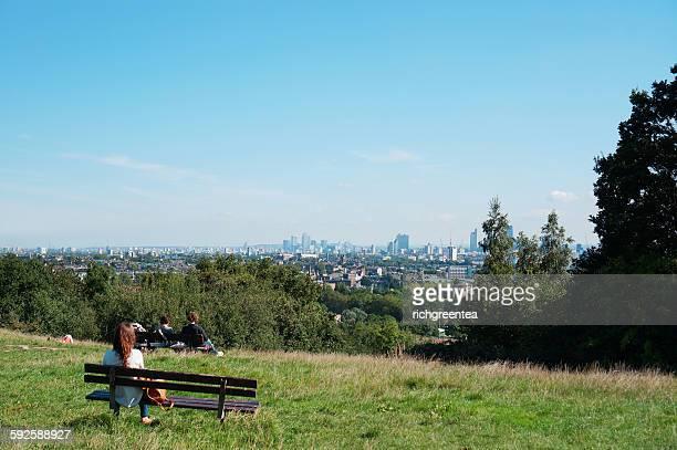 London skyline, Parilament Hill, Hampstead Heath