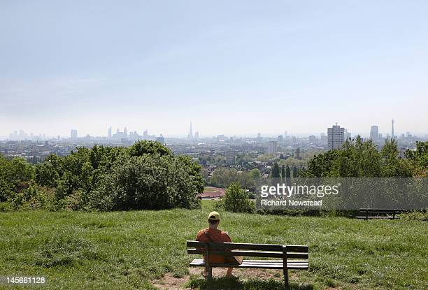 london skyline - hampstead heath stock pictures, royalty-free photos & images