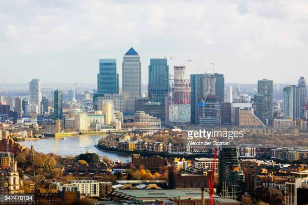 London skyline with modern skyscrapers of Canary Wharf business and financial district, England, UK