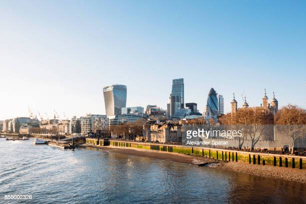 London skyline with modern skyscrapers of the City and Tower of London, The United kingdom