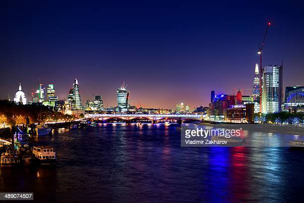"London skyline with recently completed brand new skyscrapers as The Shard, ""20 Fenchurch Street"" known as ""The Walkie-Talkie"", Leadenhall Building,..."