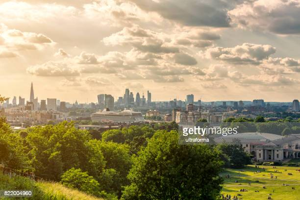 london skyline with the shard london bridge and city of london at sunset - greenwich london stock pictures, royalty-free photos & images