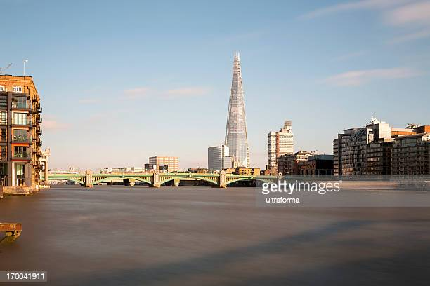 london skyline with the shard - london bridge stock photos and pictures
