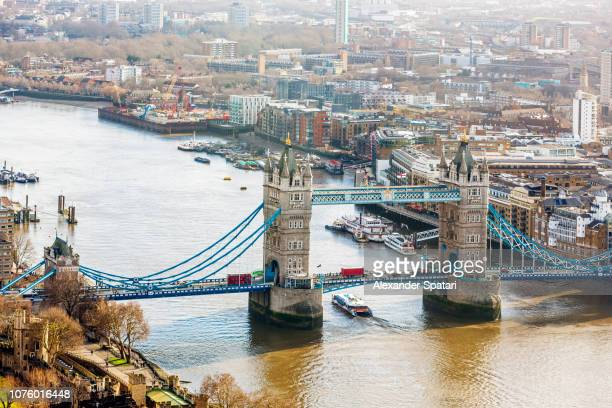 London skyline with Tower Bridge and Thames River on a sunny day, London, United Kingdom