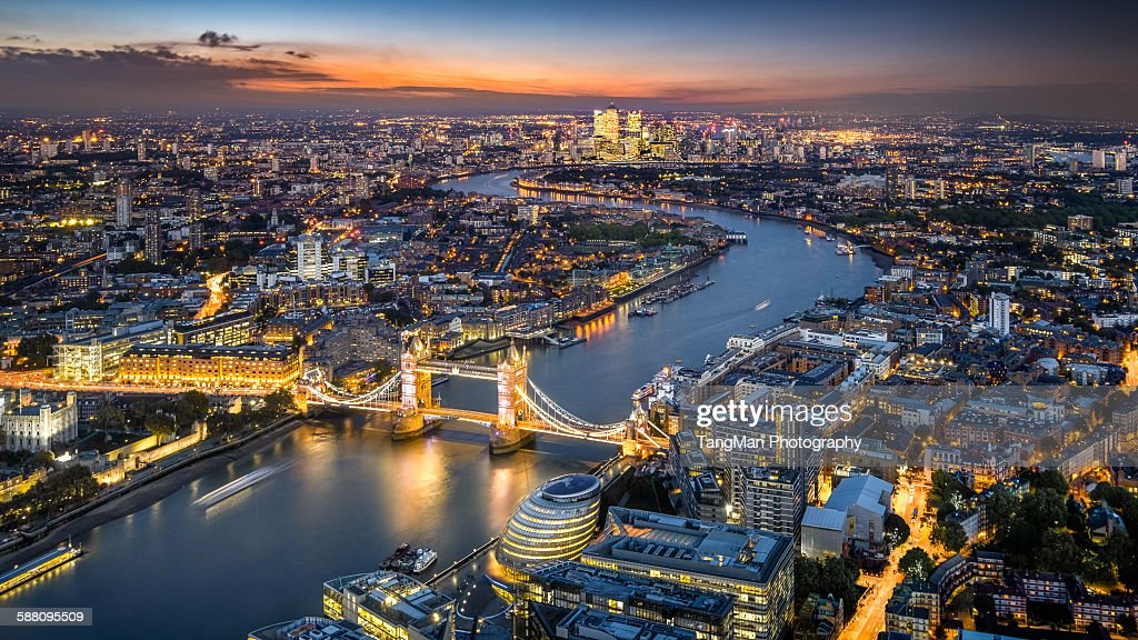 London Skyline with Tower Bridge at twilight : Stock Photo