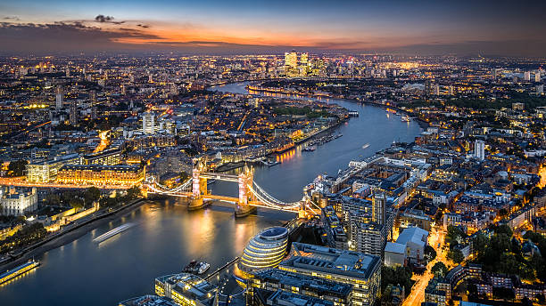 London Skyline With Tower Bridge At Twilight Wall Art