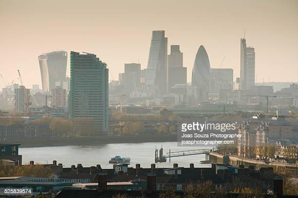 London smog skyline.