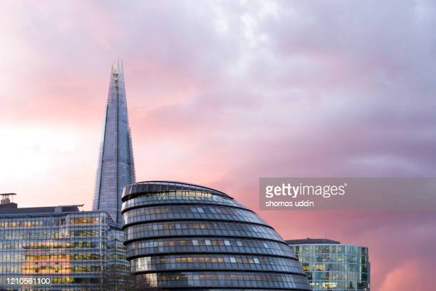 london southwark skyline against dramatic sky at sunset - idyllic stock pictures, royalty-free photos & images
