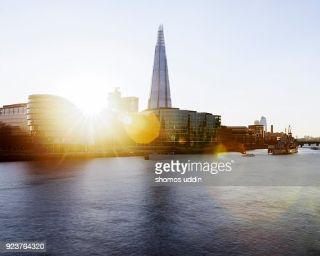 London Southwark skyline and River Thames at sunset