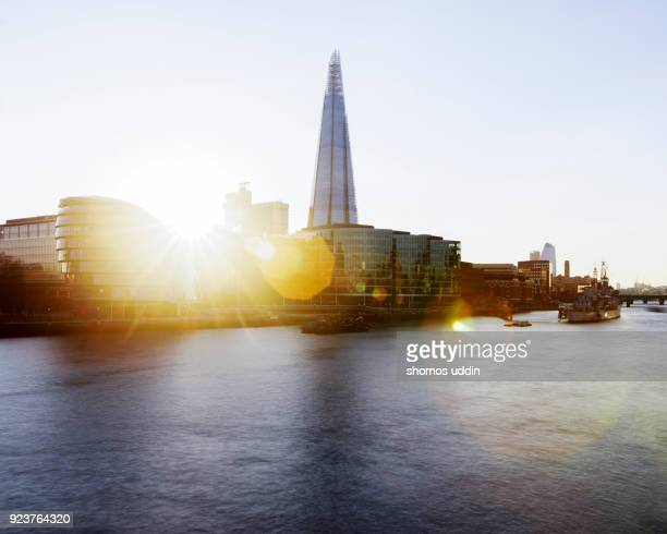 London Southwark skyline and River Thames at sunset
