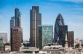 London Square Mile financial district skyscrapers