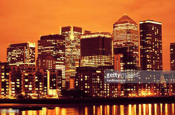 London steel skyline of Canary Wharf