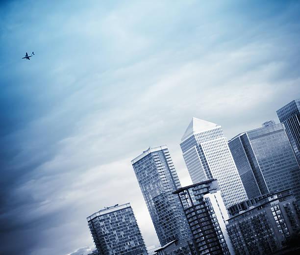 London steel skyline of Canary Wharf