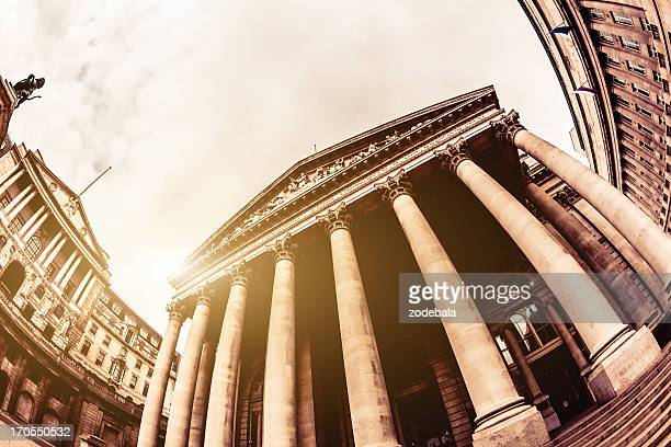 london stock exchange building and sun - bank financial building stock pictures, royalty-free photos & images